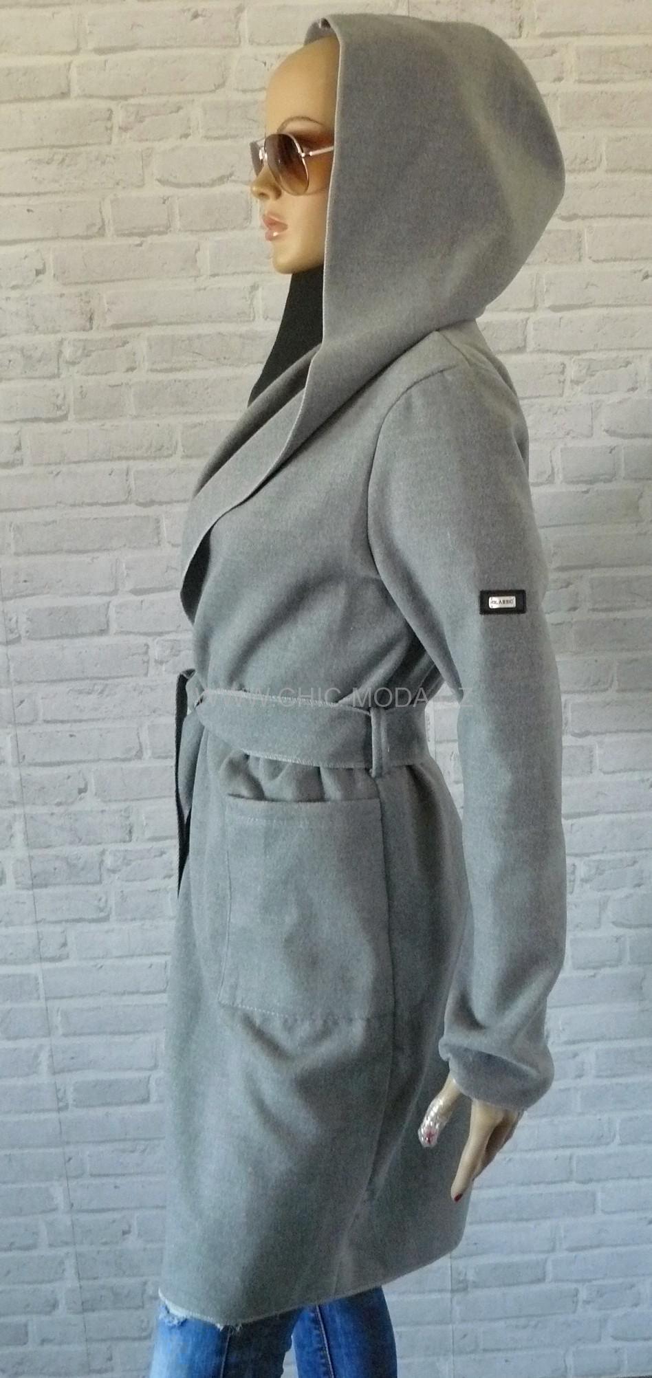 43c46e3384 kvalitní flaušový kabát s kapucí UNI-šedý