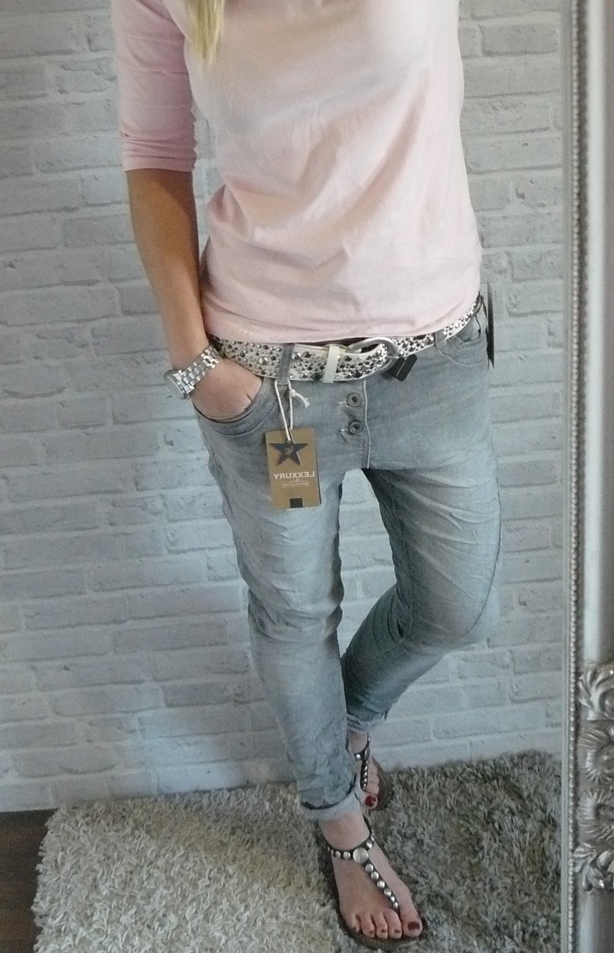 strech jeans baggy LEXXURY šedé empty 78d653e419